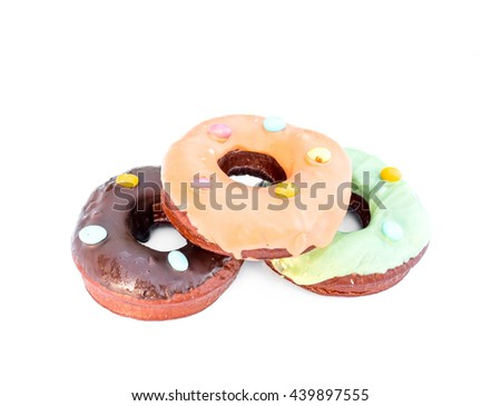 Colorful donut  on white background - stock photo