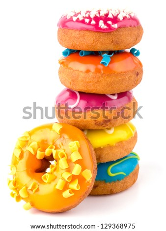 Colorful donuts isolated on white background - stock photo