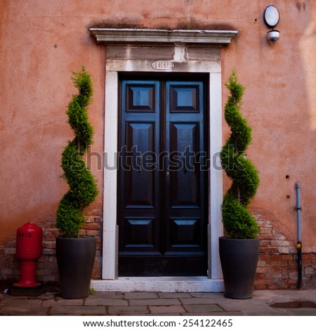Colorful door of the home  - stock photo