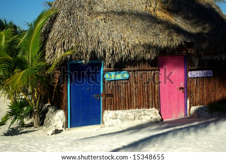 Colorful doors at the beach in mexico