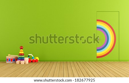 Colorful doors flush with the wall in a toys room - stock photo