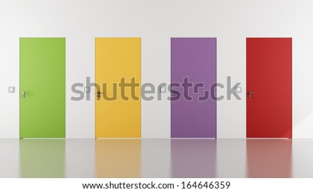 colorful doors flush with the wall in a white room - rendering - stock photo