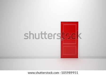 Colorful doors - interior view render - stock photo