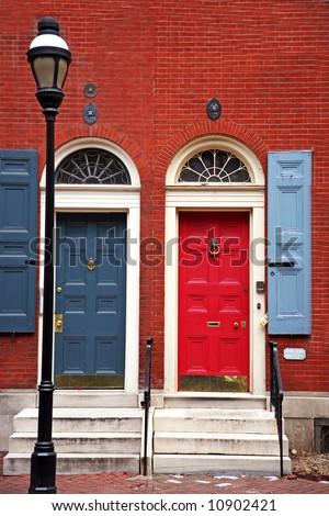 colorful doorway entrance in historic philadelphia - stock photo