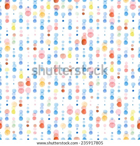 Colorful dotted seamless pattern. Hand Painted Polka Dot Background. Seamless pattern or texture with colorful polka dots on white background for kids, web design, party and wedding cards. - stock photo