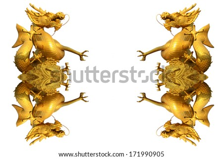 Colorful dragon statue on white in Chinese  - stock photo