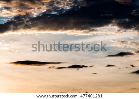 colorful dramatic sky with cloud at sunset