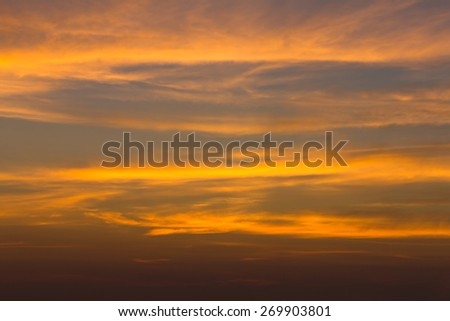 Colorful dramatic sky with cloud at sunset in evening, - stock photo