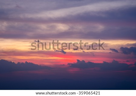 Colorful dramatic sky with cloud at sunset. Natural composition - stock photo