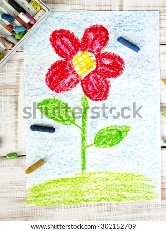 colorful drawing: beautiful flower - stock photo