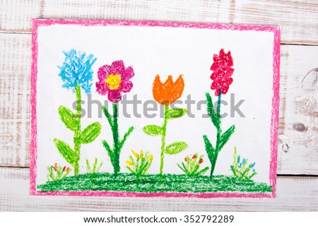 colorful drawing: beautiful flowers - stock photo