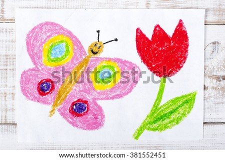 colorful drawing: happy butterfly and beautiful tulip - stock photo