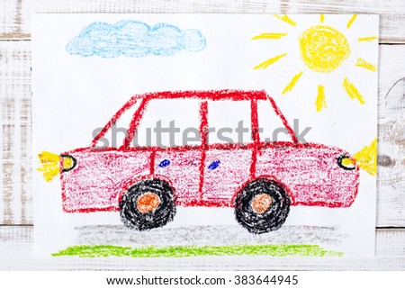 colorful drawing: red car - stock photo