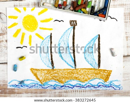 colorful drawing: sailing boat  in the sea - stock photo