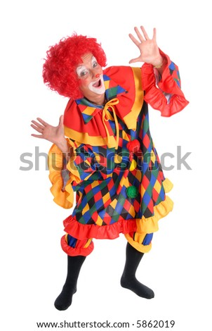 Colorful dressed female holiday clown, happy joyful expression on face