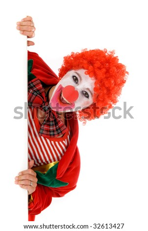 Colorful dressed female holiday clown, happy joyful expression on face. Studio shot. - stock photo