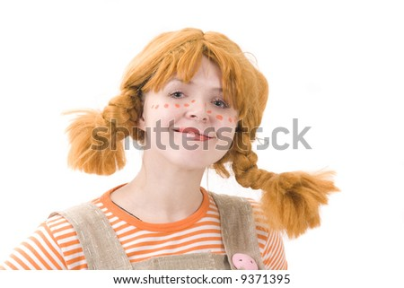 Colorful dressed female with amusing makeup and wig. Isolated over white - stock photo