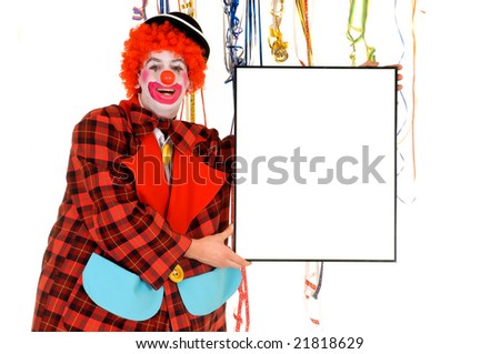 Colorful dressed male holiday clown with balloons, room for text. Studio shot. - stock photo