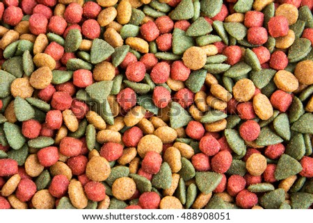Colorful dried dog food background