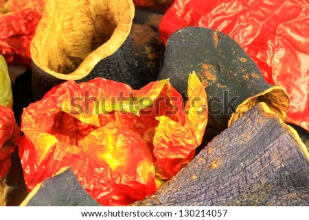 Colorful, dried pepper and eggplants for stuffing Dolma