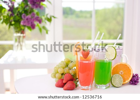 Colorful drink and fresh fruits- excellent for hot summer - stock photo