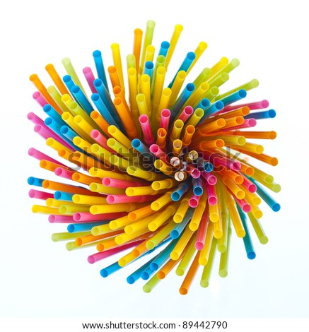 Colorful drinking straws - stock photo