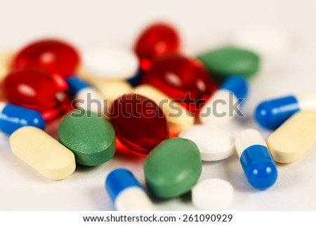 Colorful drugs and pills background/ Drugs and Pills - stock photo
