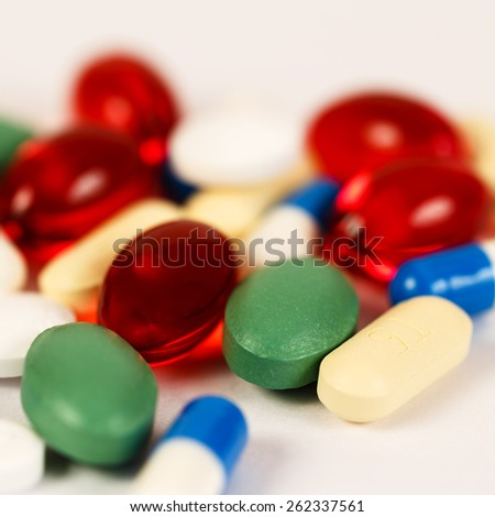 Colorful drugs and pills background in square format/ Drugs and Pills - stock photo