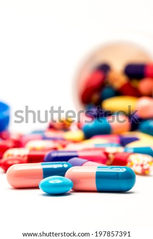colorful drugs and pills shooting in studio