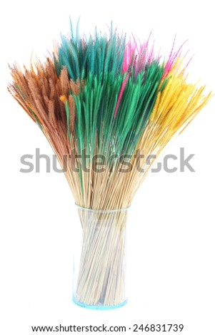 Colorful dry grass in glass vase on white background - stock photo
