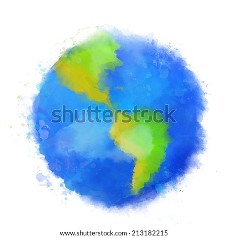 Colorful Earth illustration. Watercolor style with swashes, spots and splashes. Raster image. - stock photo