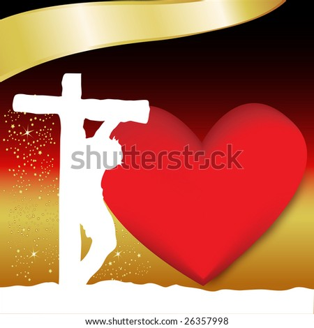 Colorful Easter background featuring Christ on the cross. - stock photo
