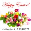 colorful easter bouquet. assorted fresh tulip flowers with easter eggs decoration. happy easter. card concept - stock photo