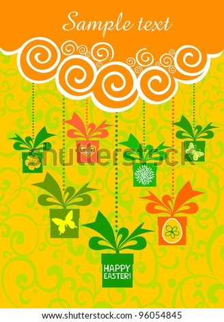 Colorful easter card. Celebration background with gift box and place for your text. Illustration