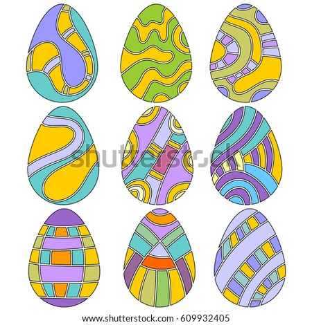 Colorful Easter Egg Collection isolated over white background