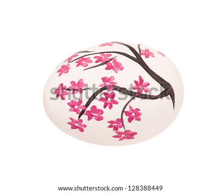 Colorful Easter egg isolated on white background close-up - stock photo