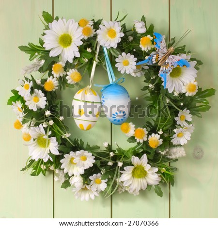 colorful easter egg wreath - stock photo