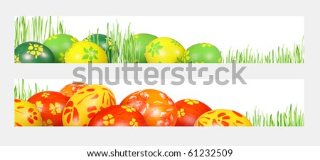 Colorful Easter eggs and green, the young plants out on a white background. Easter banners for the web.