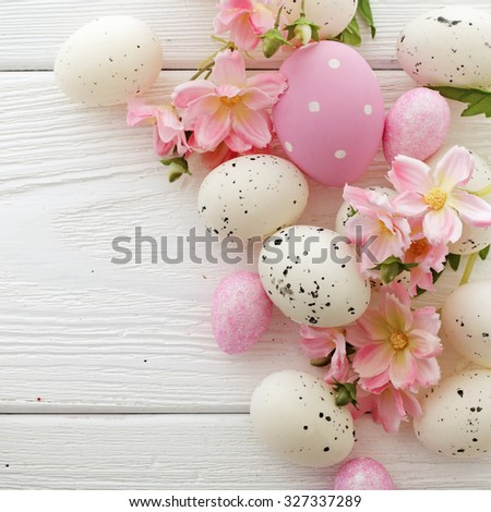 colorful easter eggs and spring flowers - stock photo