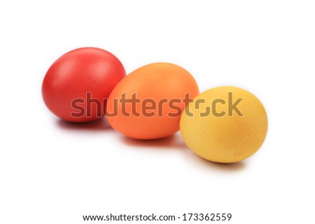 Colorful Easter eggs close up. Isolated on a white background.