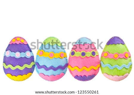 Colorful Easter eggs handmade of felt - stock photo