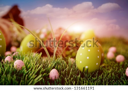 Colorful Easter eggs. Holiday nature concept with easter hunt. Eggs in the sunny meadow - stock photo
