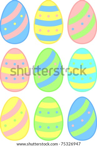 colorful easter eggs in several pastel color versions - stock photo