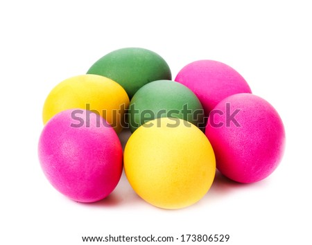 Colorful Easter Eggs isolated on white background close up.  - stock photo