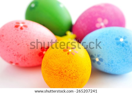 Colorful easter eggs isolated over white background - stock photo