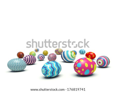 Colorful Easter eggs lying on the ground with empty space for your text. 3d render illustration. - stock photo
