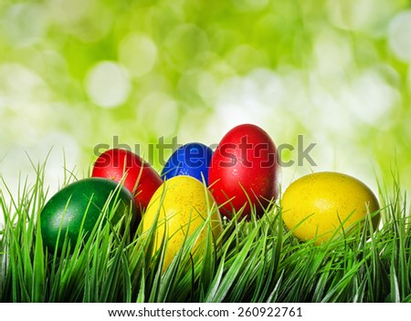 Colorful Easter eggs on green grass and on nature background. Yellow, red, green and blue eggs painted for the Easter. Organic healthy eco food rich in minerals and vitamins. - stock photo