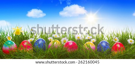 Colorful Easter eggs on green meadow and blue sky. - stock photo