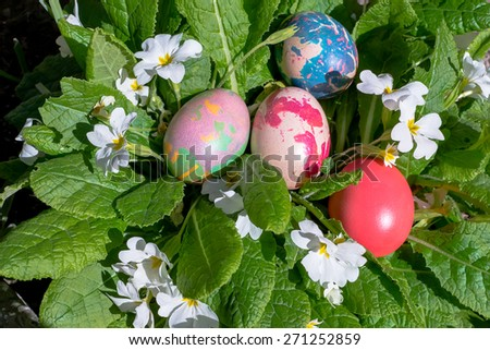 Colorful Easter eggs on spring flowers in the garden - stock photo