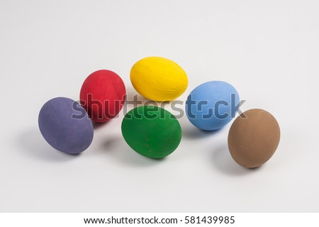 Colorful Easter eggs on table